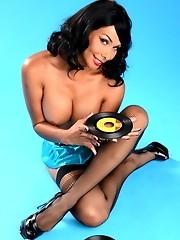 Hot pin-up tgirl Vaniity posing in sexy black stockings