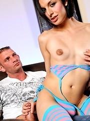 Brunette TS Alisha riding on Ricky`s big fat dick
