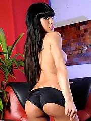 TS Adriana exposing her long hard shecock
