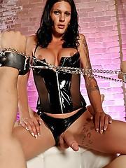 Dirty mistress Morgan punishing a guy