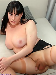 Busty tgirl Tiffany playing with her gun