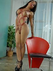Gorgeous ebony TS Nody posing in heels