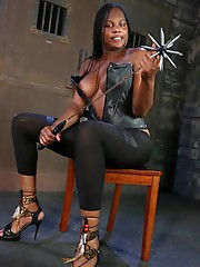 Nasty black TS Nia in the dungeon