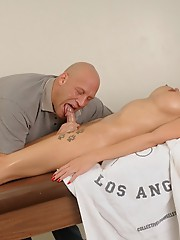 Eva gets blowed and fucked by a masseuse