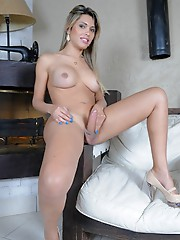 Gorgeous Milena strips and strokes