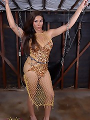 Chained tgirl Vaniity gets vibrated