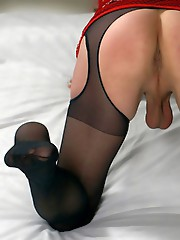 Mystery crossdressers in sexy lingerie and hot silky stockings