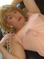 Shy crossdresser gets her cock tugged and teased until she explodes.
