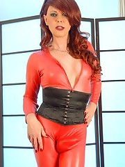 Joanna Jet in Red Catsuit