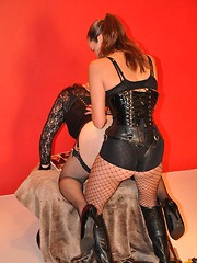 Short haired crossdresser worships femdoms big strapon cock in her mouth and TGirl pussy