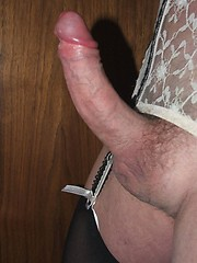 Horny crossdressers showing off their rock hard cocks in some very sexy lingerie