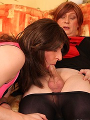 Naughty TGirl slut takes down Luci May`s pantyhose and sucks her hard cock