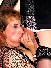 TV slut Karen fucks a blonde on a blow up chair