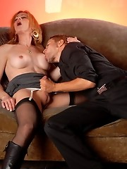 Naughty TMILF having fun with two cocks