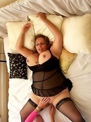 Big busty brunette gets fuckd by slutty Tgirl Karen