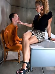 TS Jessica Host ass fucks a new guy, cumming on his face and blowing him. She rams his ass while he is hand cuffed and helpless.