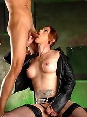 Irresistible transsexual Jasmine fucking her sex slave