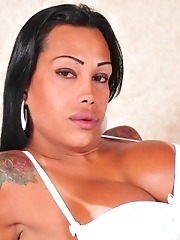 Chocolate skin Cinthia Close showing her hard cock