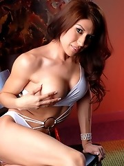 Busty tgirl Victoria stripping and exposing