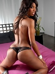 Amazing chocolate tgirl Natassia toying in bed
