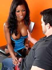 Sweet ebony transsexual gets assfucked