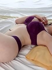 Irresistible tgirl Sarina Valentina posing on bed