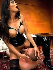 Beautiful TS Yasmin Lee dominating a man in a hot BDSM scene with orgasm denial, rope bondage, deep throat cock fucking and facials