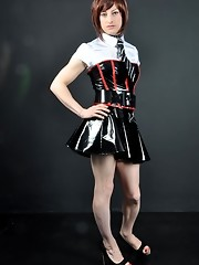 This is one naughty crossdresser with a school uniform fetish