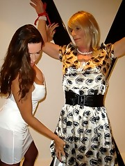 Nylon Jane ties up a slutty crossdresser and toys with her cock