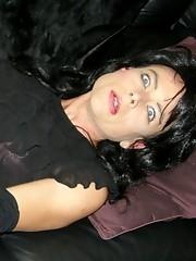 Filthy crossdresser masturbating her hard cock