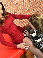 Crossdresser Emily Holiday craves Jane`s huge strapon cock everyday, so today`s her lucky day as she can finally get on the end of it