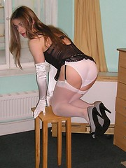 Hot TGirl housewife Kirsty wearing some white panties and matching nylon stockings