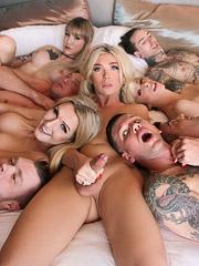 Aubrey Kate, Casey Kisses, Lena Kelly, Kayleigh Coxx, Mike Panic, Lance Hart and Ruckus