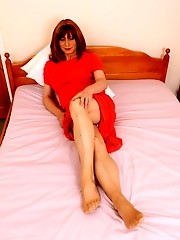 Tgirl Lucimay polishing her hard cock with a machine
