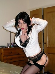 Horny crossdresser Kirsty gets home for work and is ready for some dildo fun