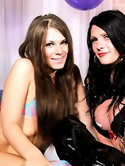 Hot tgirls Ashley and Morgan playing with each other